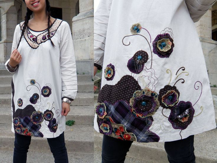 NEW patchwork floral tunic Ivory / Brown from ▇❤▇ Z'adOR  の trend ▇❤▇ by DaWanda.com