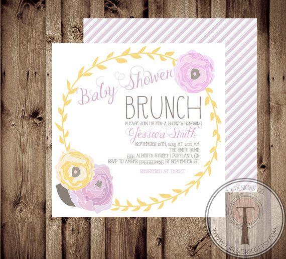 Baby Shower Invitation, BABY GIRL, Floral, Shabby Chic, Baby Shower,invite, Invitation, baby shower brunch, brunch, modern vintage, square on Etsy, $12.99