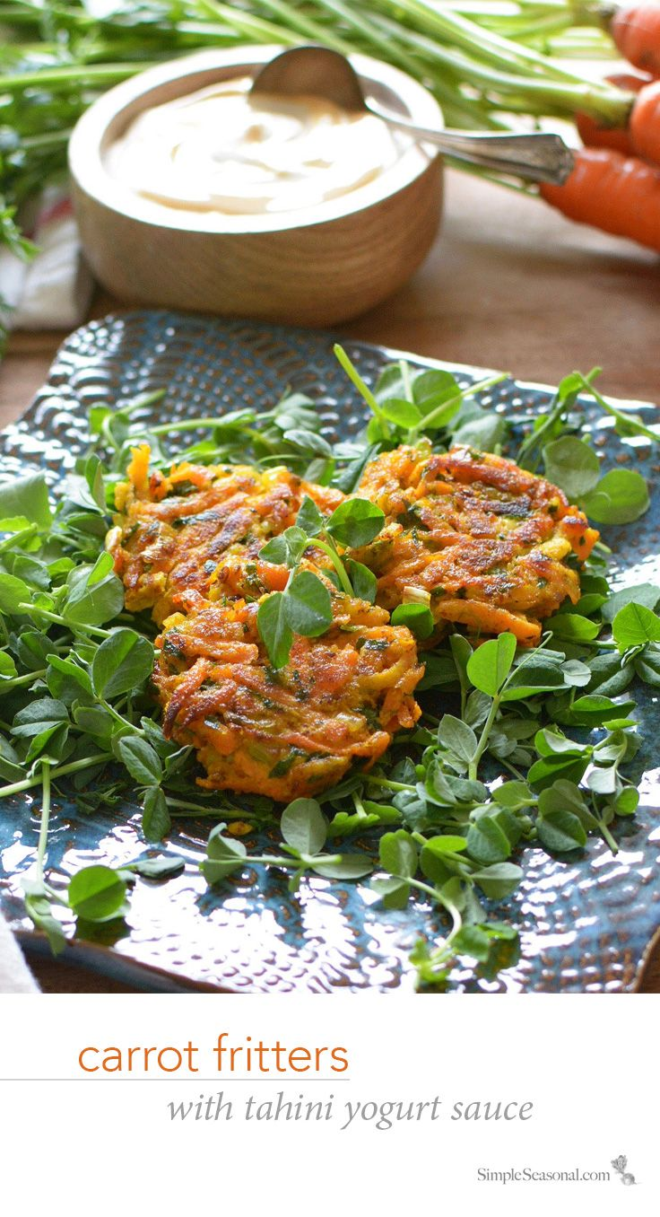 Carrot Fritters with Tahini Yogurt Sauce | Recipe | You think, Words ...