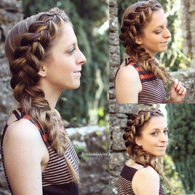 a big side dutch braid into a side braid , fishtai…