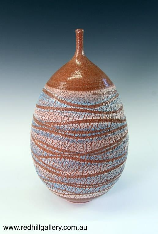 Bill Powell 'Glazed Toast Clay Blue Textured Bottle' 22x38cm. 61 Musgrave Road, Red Hill Brisbane, QLD, Australia. art@redhillgallery.com.au