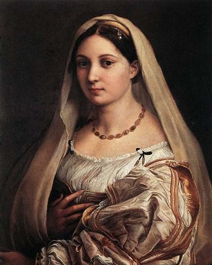 라파엘로- 베일을 쓴 여인  백색 베일을 머리서부터 내려쓰고 검은머리에 빛나는 진주 장식을 한 이 여인의 모델은 교황 율리우스 2세의 조카딸이라는 설과 라파엘로의 연인이었던 <포르나리나>라는 설 등 여러 갈래가 있지만 나는 개일적으로 이 그림역시 포르나리나가 아닐까 하는 생각이 든다. 어찌 되었든 간에 이 여인상이 라파엘로가 가슴에 품고 있던 여성의 이상적인 아름다움을 나타냈다고 하는 것은 누구도 의심할 수 없는 일이다.   그림에 나타나있는 특징은 정리된 조용한 아름다움을 나타내고 있는 얼굴과 한껏 복잡한 옷 주름의 어지러움을 하나하나 그려낸 의상의 표현과의 대조가 이 작품의 볼 만한 것 가운데 하나일 것이다.