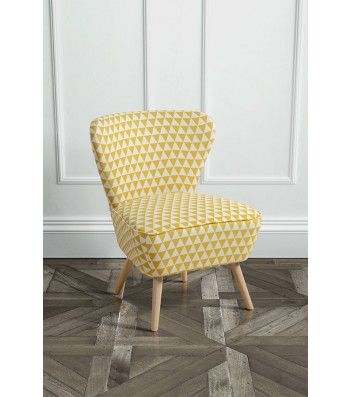 Delilah Yellow Check Retro Occasional Chair With Natural Oak Legs