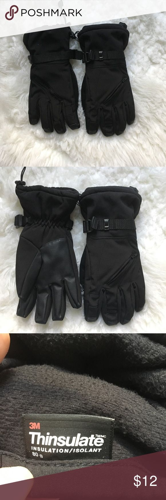 Men's 3M Thinsulate Gloves Men's 3M Thinsulate Insulated Gloves, Size M/L, color Black, has small pockets, has an adjustable strap. 3M Other