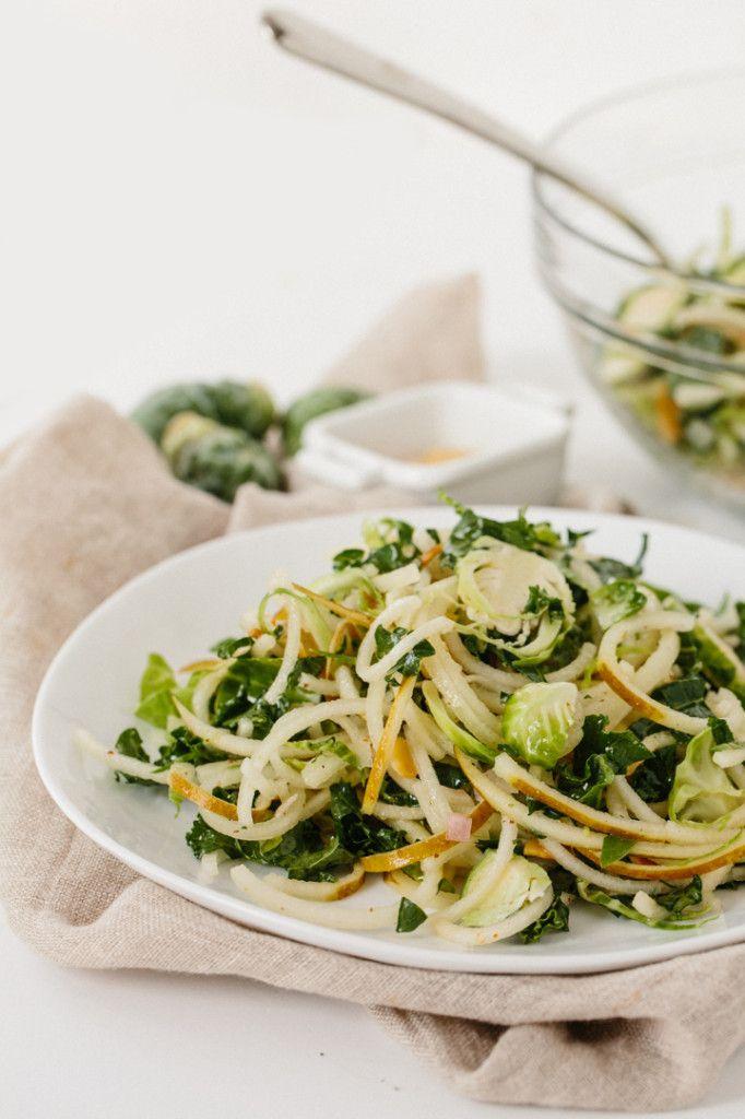 95 best spiralized salads images on pinterest spiralizer for Shredded brussel sprout salad recipe