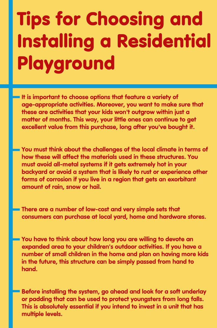 When you think of installing a residential playground for your kids. There are various things which needs to be considered. Most importantly, you must consider the climate condition in your area and the safety of your kids. Visit this infographic for more tips. #playground #residentialplayground