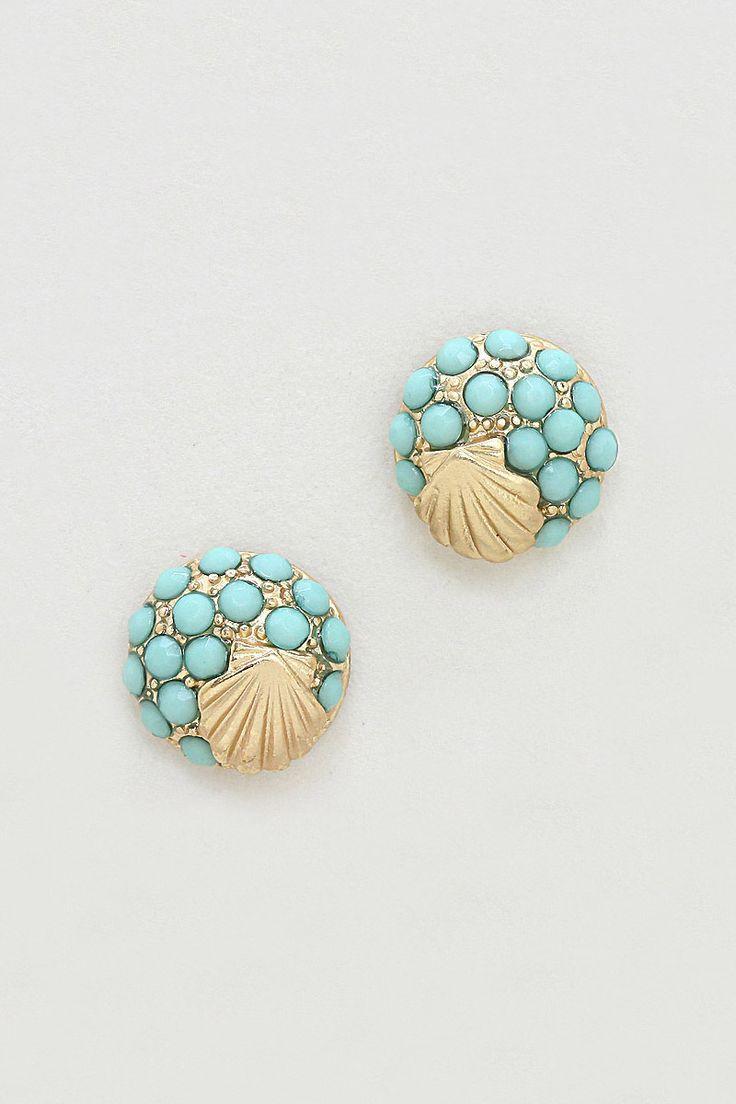 Seashell Earrings in Blue Mint