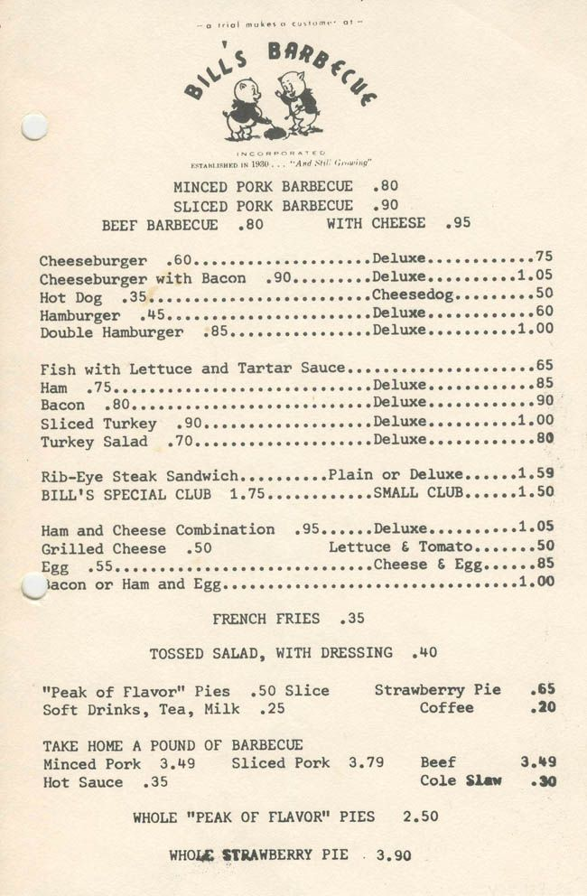 Vintage Richmond: Bill's Barbecue menu - 1970Bill Barbecues, 13 Restaurants, Barbecues Menu, Locations, Barbecues Open, Bill S Yummo, Bill Operation, 1931, 1970 Menu