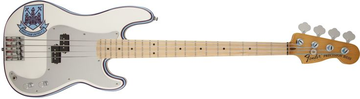 Fender Steve Harris Precision Bass, Maple Neck, Olympic White with Stripe. Very distinctive look via soccer team logo graphic and side paint schemes. Hum free crushing output are provided by the Seymour Duncan split P Pickup. Fender designed hi-mass bridge ensures a clear tonal transfer and maximum resonation. Play for hours with little fatigue due to the modern 'C' shape neck profile and his signature Rot sound flat wound strings. Enjoy the peace of mind due to the Fender Deluxe Gig Bag…