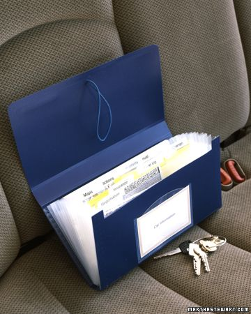 Car Organizer - Store everything you need for the road in a small accordion-file folder, registration and insurance information, emergency contact numbers, maps, and directions (file them instead of having to rewrite them every time).