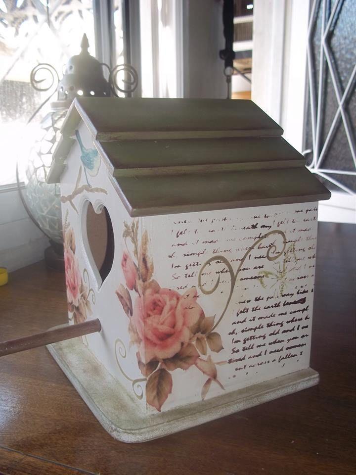Casa de pajaros vintage fibrofacil tecnica decoupage for Decoracion de pintura