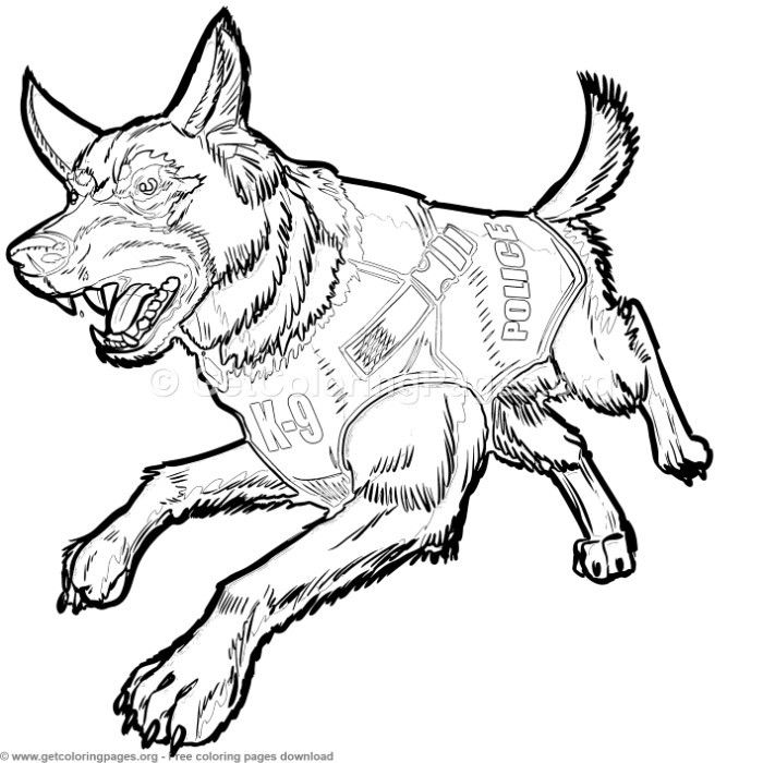 Police K 9 German Shepherd Dog With Bulletproof Vest Coloring Pages Free Instant Download Colo Dog Sketch German Shepherd Dog Quotes German Shepherd Dog Funny