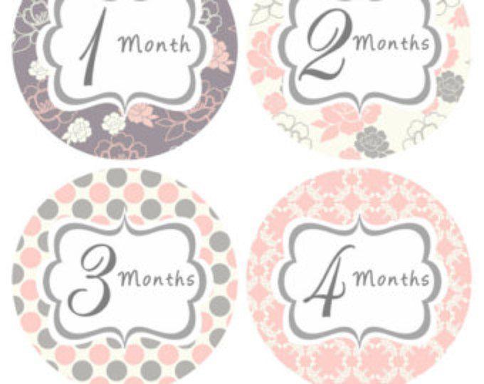 Mensuel bébé Stickers bébé mensuellement autocollants mois autocollants rose gris Floral mensuel Bodysuit autocollant bébé douche cadeau Photo Prop Mya
