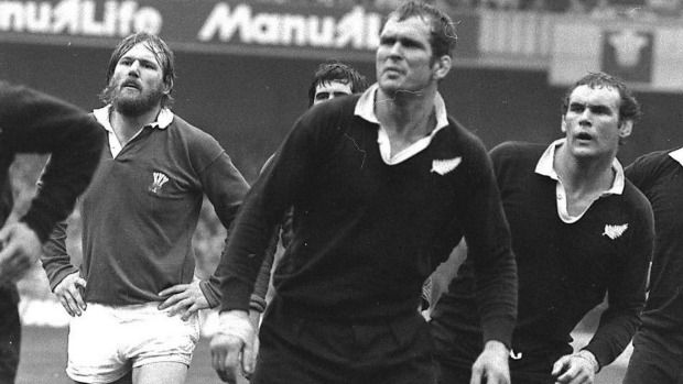 Frank Oliver and Andy Haden in a lineout against Wales 1978.