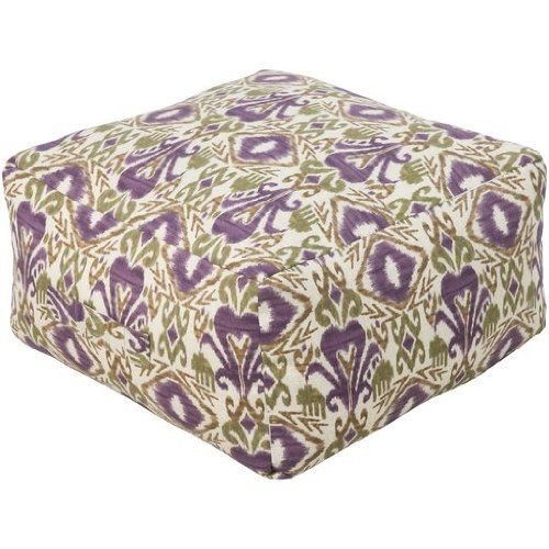 """13"""" Plum Purple and Gold Rustic Southwestern Outdoor Patio Pouf Ottoman"""