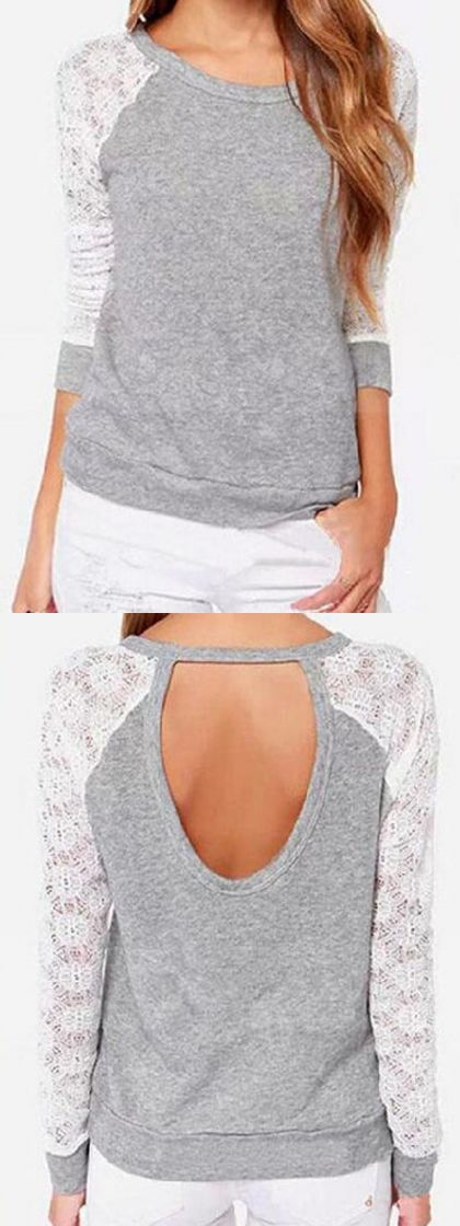 What to wear with sneakers this fall is gray lace sweatshirt.Find it at Choies.com!