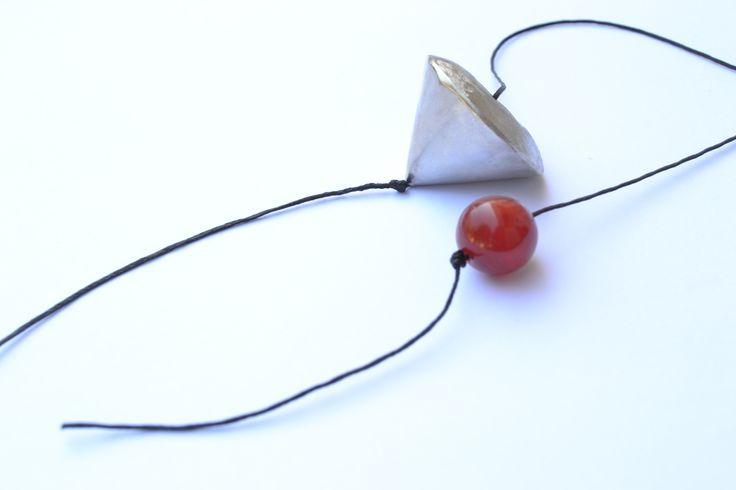 Handmade pendant spinning top, metal arzanto, gemstone agate. by Efstathia.