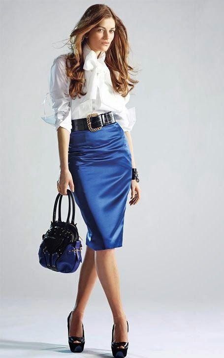 White Blouse Blue Satin Pencil Skirt Sheer Pantyhose Black Belt ...