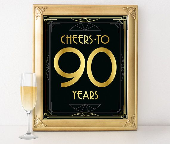 90th birthday decorations - 90 year old birthday sign. Great Gatsby birthday party decor, roaring 20s party supplies, black and gold decor