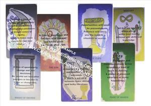No need for a book or getting lost in meanings.  The cards are designed to help you through your reading with each card depicting and supporting the knowledge I have on tarot and their meanings. You can read alone, or compliment with other decks.