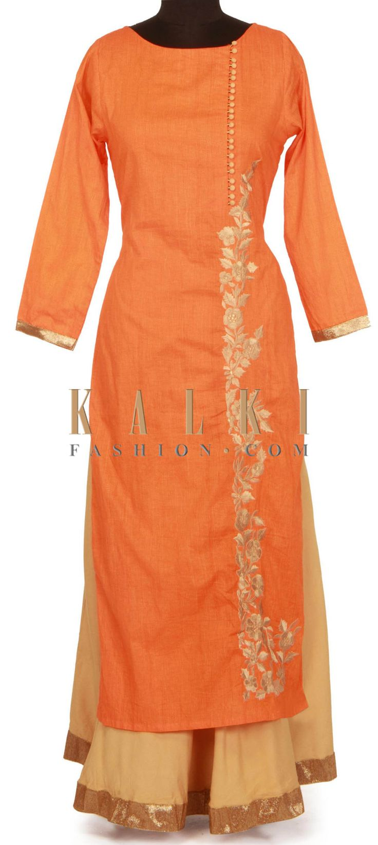 Orange and beige kurti embellished in resham only on Kalki
