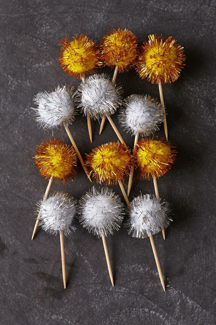 Sparkle-Pom Food Picks - anthropologie.com   Jingle All ...