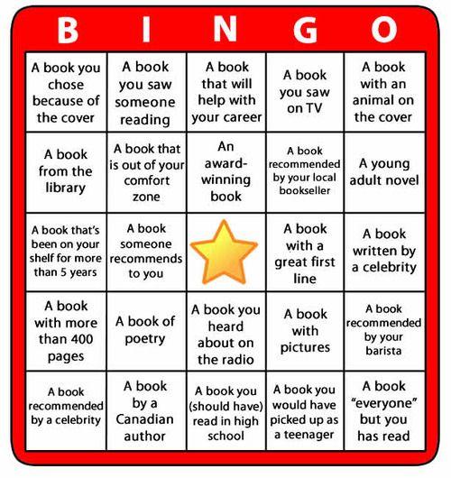 "Bingo! from School Library Journal. ""Reading Bingo Challenge"" (via Random House of Canada)"