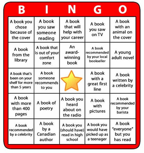 BOOK BINGO! Challenge yourself to read more, to read more widely and to have fun doing it! (easily adapted for independent reading in the classroom!) Found on www.retreatbyrandomhouse.ca via Tumblr