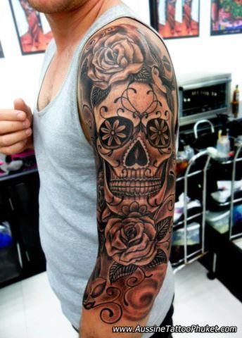 Sugar Skull Sleeve on Pinterest | Woman Sleeve Tattoos Clock Tattoo ...