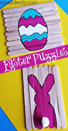 Popsicle Stick Easter Puzzles for Kids  This is cute. Could be done with any figure, any time.
