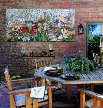 392 Best Mosaic Flowers Garden Landscape Images On Pinterest Custom Mosaic Dining Room Table Decorating Design