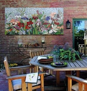 MOSAIC WALL art made-to-order floral garden by ParadiseMosaics