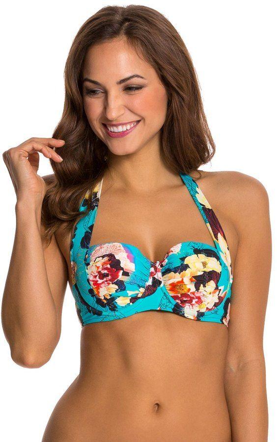 Seafolly Kabuki Bloom Halter Bustier Bikini Top 8122543