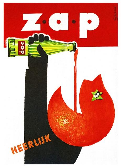 Heerlijk! Zap! Dutch poster design from 1950 by Frans Mettes.