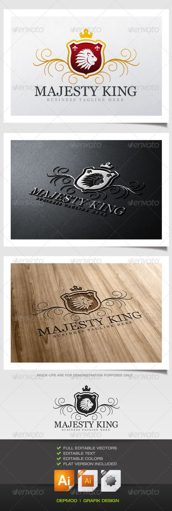 Majesty King Logo #GraphicRiver Crest logo of a lion head on a gold and burgundy shield. Can be used for many kind of project. Full vectors, this logo can be easily resize and colors can be changed to fit your colors project. Flat versions for print also included. The font used is in a download file in the package. Font : .fontpalace /font-details/Georgia/ Files provided : .ai (CC and CS), .eps, .jpg, .png (transparent) Created: 25September13 GraphicsFilesIncluded: TransparentPNG #JPGImage…