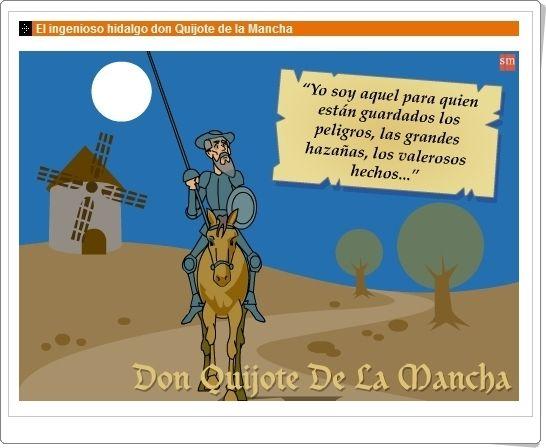 """Para celebrar el Día Mundial del Libro (23 de abril) se puede trabajar, como material complementario, la aplicación """"El ingenioso hidalgo Don Quijote de la Mancha"""", de S.M. Ésta presenta exposiciones y actividades interactivas sobre el tema. Además contiene material complementario escrito y evalúa los conocimientos del alumno con un test."""