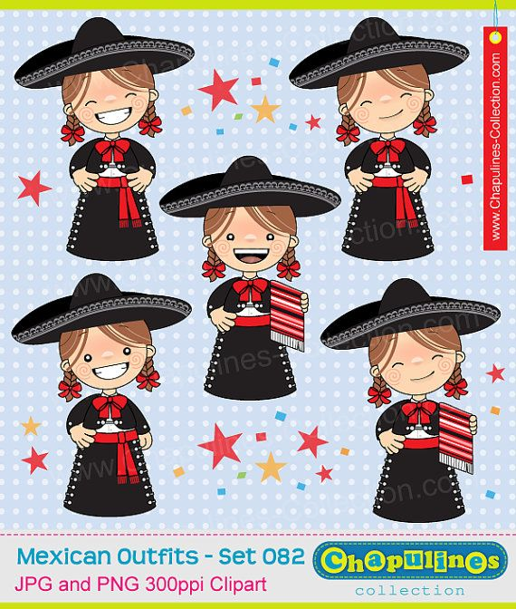 Clipart girls with charro suit gala by ChapulinesCollection