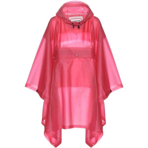 Hunter Original Clear Poncho ($195) ❤ liked on Polyvore featuring outerwear, pink, pink poncho, red poncho and clear poncho