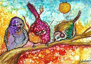 Alcohol Ink Painting - Three Wise Birds by Vanessa Ortiz