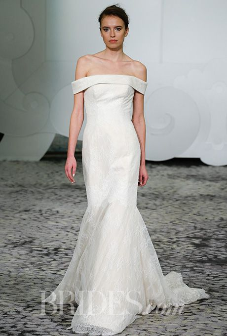 Brides.com: . Bateau neckline gown of Chantilly with dawn accent lining Rivini by Rita Vinieris