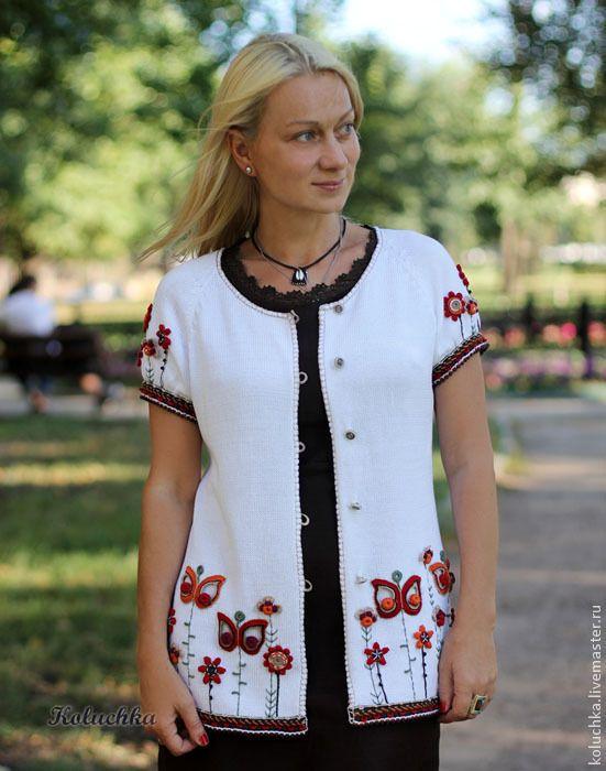 Купить Белая-белая и в цветочек. Кофточка. - белый, цветочный, трикотажная кофточка, летняя одежда