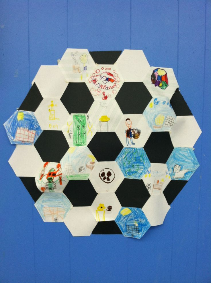 Paper Soccer Ball Quilt. The kids drew pictures of soccer images (trophies, fields, players, etc) and we put them together to form a big soccer ball quilt for the class wall.