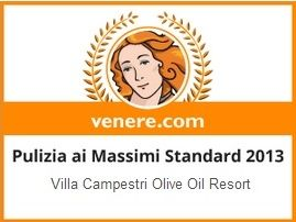 Villa Campestri olive oil resort was awarded Top Clean 2013 award from Venere.com!