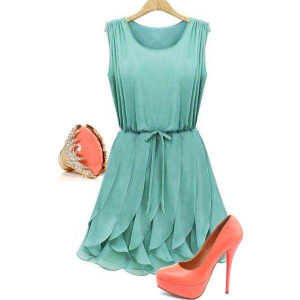 68e31b8b5a1d6 Teal and Coral | Fashion | Dresses, Chiffon Dress, Ruffle dress