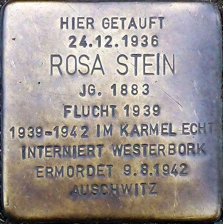 From Wikiwand: Stolperstein in der Werthmannstraße vor dem St. Elisabeth-Krankenhaus Köln-Hohenlind
