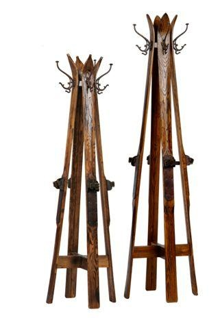 Very cool coat rack made from old skis
