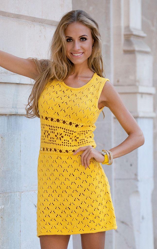 Желтое мини-платье на лето: схема вязания крючком с описанием