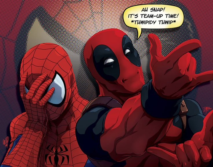 We just want Deadpool and Spidey to be friends. Is that too much to ask? Art by theCHAMBA.deviantart.com on @deviantART