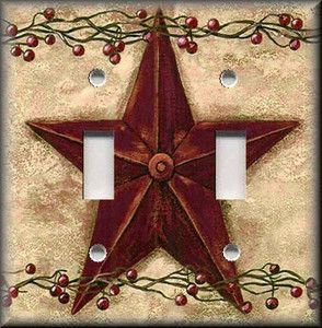 Light Switch Plate Cover - Country Decor - Red Barn Star And Berries - Primitive
