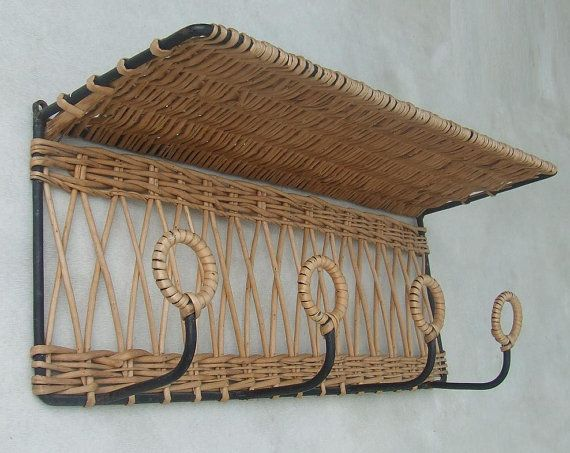 coat rack shelf, vintage rattan and, years 50/60, cloakroom